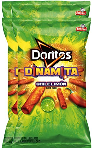 Doritos Dinamita Chile Limon Rolled Flavored Tortilla Chips, 9.25 oz Snack Care Package for College, Military, Sports (4) (Sports Care Package)