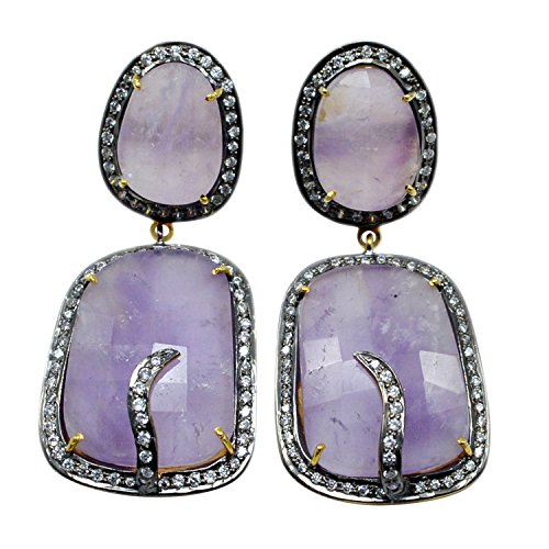 Handmade Jewelry Manufacturer Amethyst & CZ Earring, 925 Sterling Silver With Gold Vermeil Dangle Earring With Purple Shade Jaipur Rajasthan India