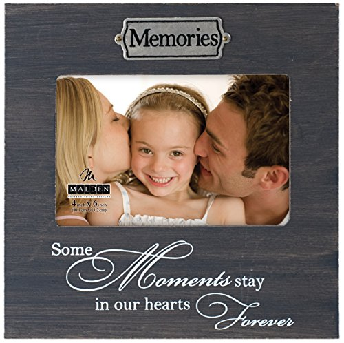 Metal Photo Plaque (Malden International Designs Weathered Sentiments Wood with Antique Silver Metal Memories Plaque, Picture Frame, 4x6, Gray)