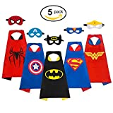 MIJOYEE Superhero Dress Up Costumes 5Pcs for kids ,Capes and Mask Costumes (Boy Costumes)