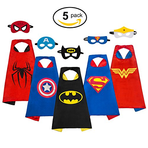 MIJOYEE Superheros Capes and Mask Costumes for kids 5Pcs Cartoon Dress Up Double-sided Costumes (Costumes for (Tall Cape)