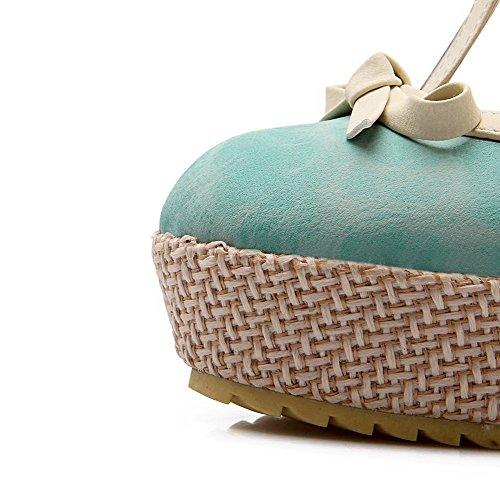 AllhqFashion Damen Rund Zehe Hoher Absatz Weiches Material Schnalle Pumps Schuhe Blau