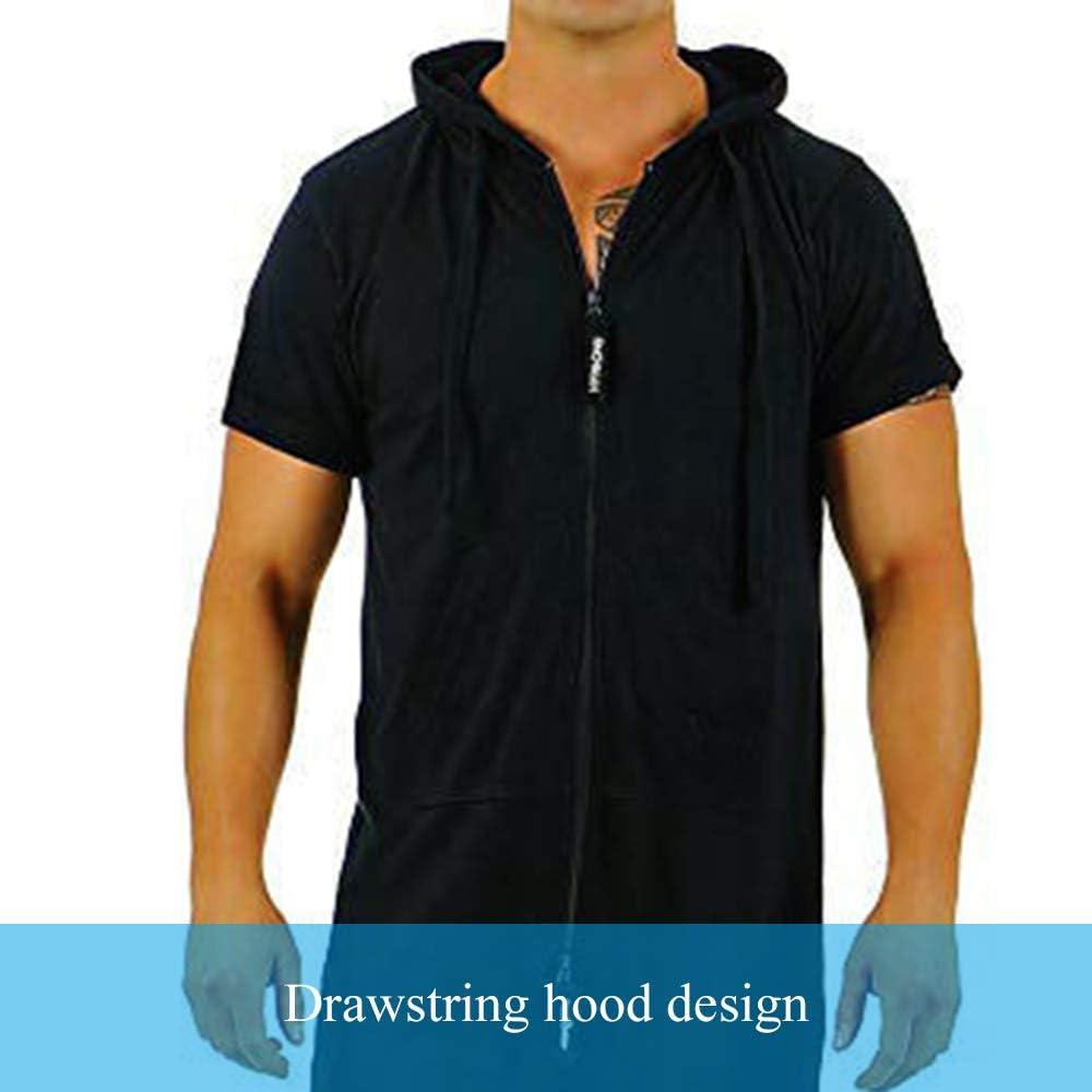 Heflashor Mens Short Sleeve Jumpsuit Hoodies Casual Short Cargo Romper Playsuit