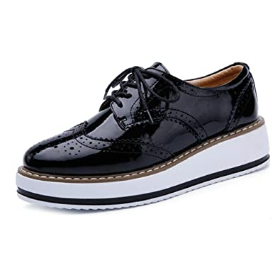 dd95908de0d GIY Womens Platform Oxford Shoes Wingtip Vintage Lace Up Mid Chunky Heel  Casual Dress Wedge Oxfords