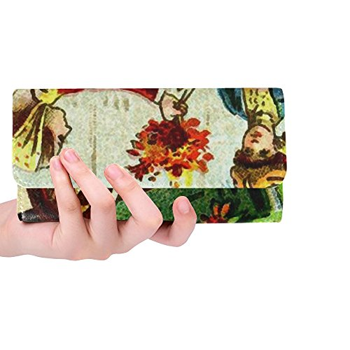 Unique Custom Postcard Old Vintage Flowers Florist Lady Woman Women Trifold Wallet Long Purse Credit Card Holder Case Handbag