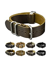 INFANTRY 22mm Genuine Leather G10 Watch Band Replacement Straps Metal Buckle 5 Silver Rings Medium Brown
