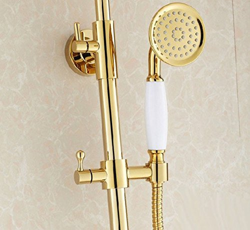 GOWE Luxury Gold Finish Bathroom Rainfall Shower set faucet Brass Round Shower Head 3