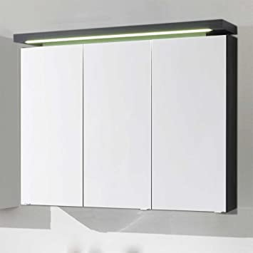 Pharao24 Badezimmer Spiegelschrank mit LED Beleuchtung Anthrazit ...