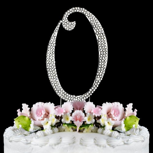 Completely Covered Swarovski Crystal Silver Wedding Cake Toppers ~ LARGE Monogram Letter O by RaeBella Weddings & Events New York (Swarovski Jewelry Cake)