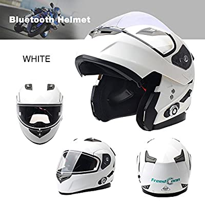 Freedconn Bluetooth Motorcycle Helmet Modular Full Face Helmets DOT Approved Helmet with Wireless Intercom Headsets for Men Women(White, X-Large): Automotive