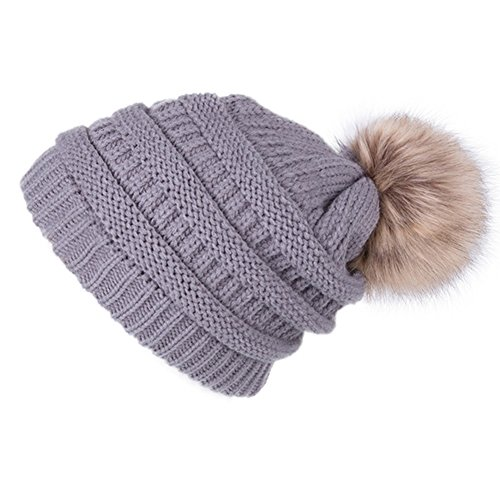 dfa9b1028d4 Dikoaina Womens Girls Winter Fur Hat Large Faux Fur Pom Pom Slouchy Beanie  Winter Hats