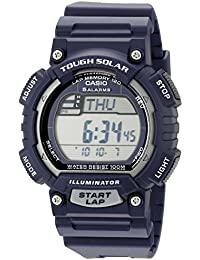 Men's STL-S100H-2A2VCF Tough Solar Stainless Steel Watch With Blue Resin Band