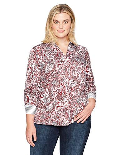 Foxcroft Women's Plus Size Long Sleeve Lauren Romantic Paisley Shirt, Multi, 18W