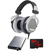 BeyerDynamic DT 880 Premium Headphones 250 OHM with Bundle Includes, FiiO E12 Mont Blanc Portable Headphone Amplifier & 64GB MicroSDXC High-Speed Memory Card