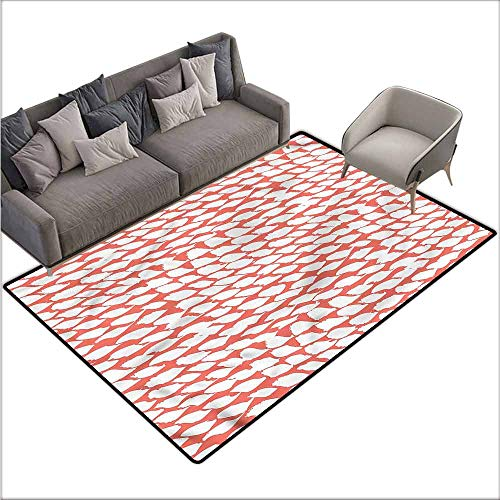 - Polyester Non-Slip Doormat Rugs Colorful Coral,60s Psychedelic Brushstrokes 48