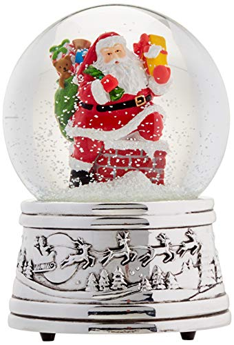 Musical Snowglobe Christmas Decorations - Reed & Barton Rooftop Santa Snowglobe