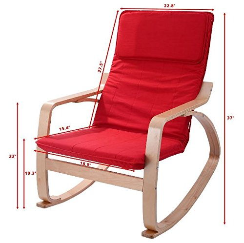 Rocking Chair Wood Accent Living Room Furniture Armchair Leisure Lounge Red + (Deep Seating Leisure Rocker)