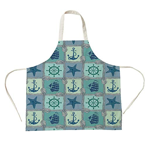 3D Printed Cotton Linen Big Pocket Apron,Ships Wheel Decor,Nautical Patchwork Pattern with Ropes Starfish Sailing Ship Anchor and Wheel,Turquoise Navy,for Cooking Baking ()