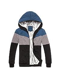 XIAFEN Men's Winter Mixed Colors Full-Zip Hooded Sweatshirt Jacket Coat