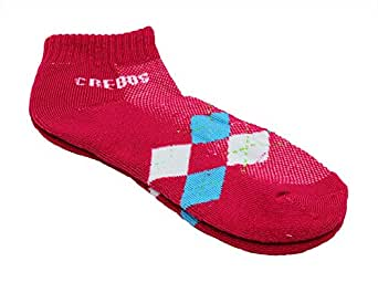 Colorful Argyle Arch Support Ankle Socks (Hot Pink)