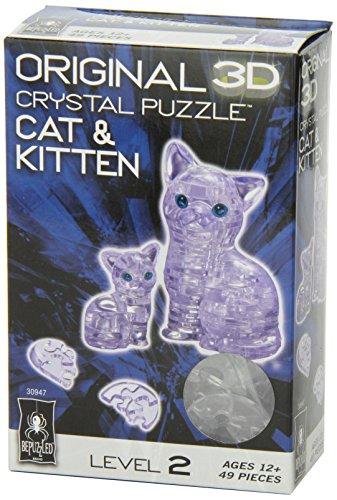 Original 3D Crystal Puzzle - Cat & Kitten Clear