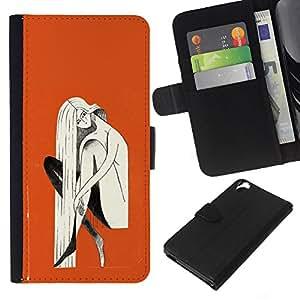 iBinBang / Flip Funda de Cuero Case Cover - Naranja Mujer Rubia Pintura - HTC Desire 820
