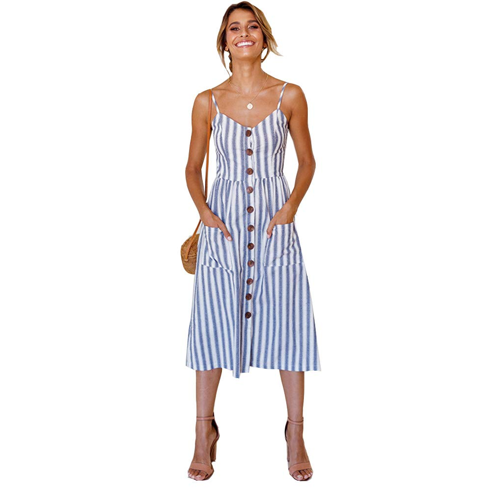 LitBud Womens Summer Dresses for Women Ladies Spaghetti Strap Casual Beach Party Button Down Vacation Midi Swing Dress with Pockets Blue Strips Size 4 6 S