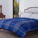 HOS LINENS Down Alternative Comforter,All Season Comforter, Protection Against Dust Mites, Hypoallergenic, Allergy Free Blue/Blue Plaid/86X86