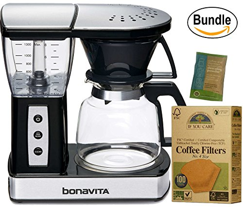 Bonavita BV01002US Glass Carafe Brewer with Warming Plate, Black & If You Care Coffee Filters, No. 4, 100 count. (Bundle) by Bonavita