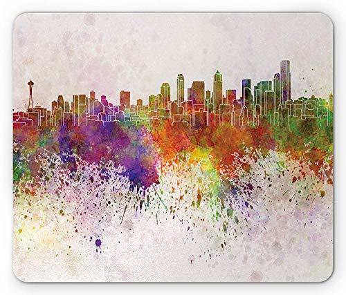 Seattle Mouse Pad, Washington King County Silhouette with Paint Splashes Colorful Urban Arrangement, Standard Size Rectangle Non-Slip Rubber Mousepad, Multicolor ()