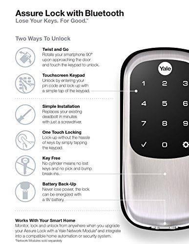 Yale Security YRD446NR619 Real Living Key Free Assure Touchscreen Stand Alone Deadbolt with Bluetooth, Satin Nickel