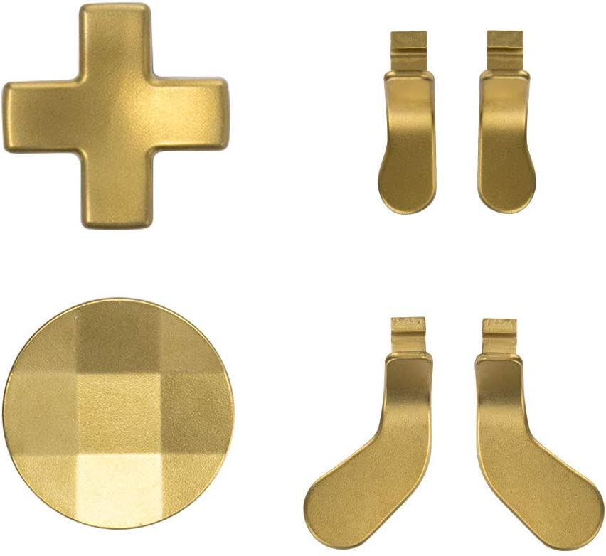 TOMSIN Metal D-Pads and Paddles for Xbox Elite Controller Series 2, Stainless Steel Replacement Parts Compatible with Xbox Elite Wireless Controller (Gold)