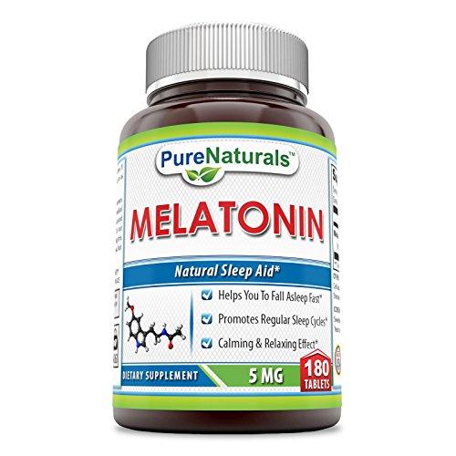 5 Mg 180 Pills (Pure Naturals Melatonin, 5 Mg, 180 Count)