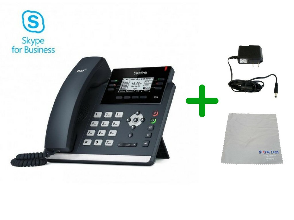 Global Teck Bundle of Yealink T41S Skype for Business SIP POE Office Phone Includes Power Supply, Microfiber Cloth, Requires VoIP Service - Fuze, Vonage, Ring Central, 8x8, Mitel or Cloud Services by Global Teck Worldwide
