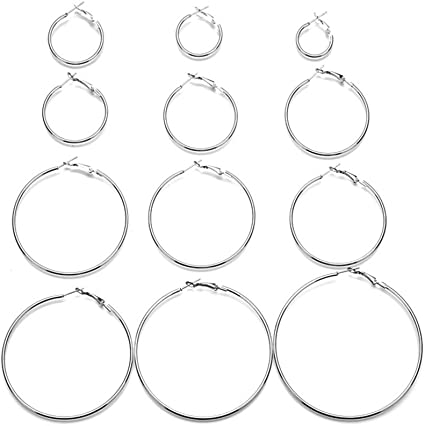 12 Pairs Hoop Earrings Set Big Circle Earring Fashion Jewelry for Women Girls,Dia 2-7.5cm