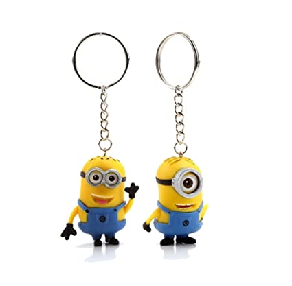 Despicable Me 2 The Minions 3D Eyes PVC Key Chain 2pcs/Pair 2inch