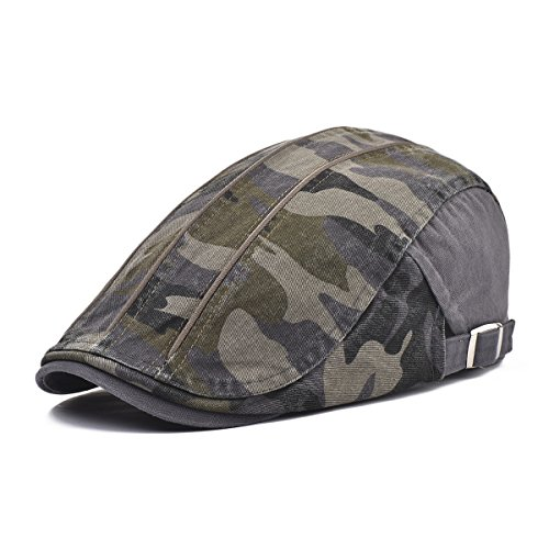 Camo Driver Hat (VOBOOM Men's Washed Cotton Driving IVY Hat newsboy Flat Cap Camouflage Pattern (Grey))