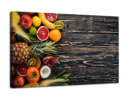 AMEMNY Kitchen Pictures Canvas Wall Art -Fresh Tropical Fruits and Pineapple On a Wooden Background- Giclee Print Gallery Wrap Modern Home Decor Ready to Hang