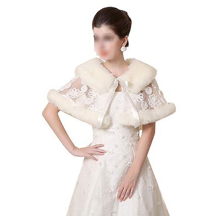 Aclth Invierno de Las Mujeres Abrigo cálido mantón de Encaje Nupcial Bordado Bufandas estolas Poncho para
