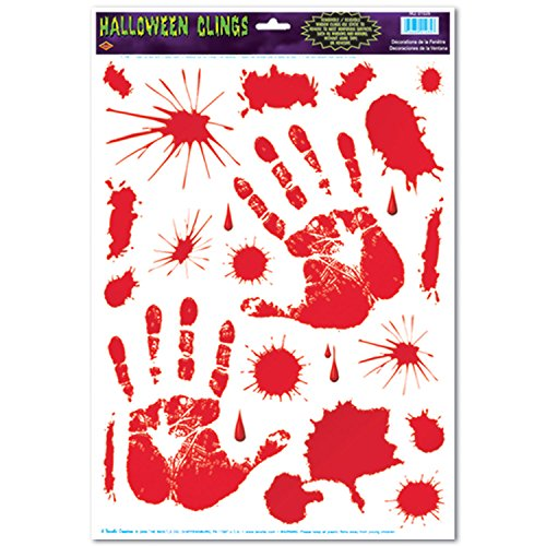 [Beistle Bloody Handprint Clings, 12-Inch by 17-Inch Sheet] (Halloween Decorations)