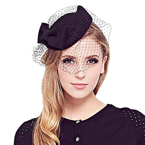 Dovaly Womens Fascinators Vintage Bow Fedora Wool Hat with Veil Nobility Pillbox Hat -