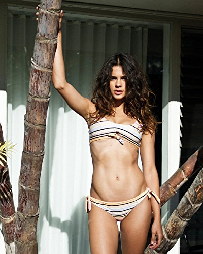 RVCA Junior's Horizon Stripe Reversible Cheeky Bikini Bottom, Peach Out, (Out Womens Swimsuit Bottom)