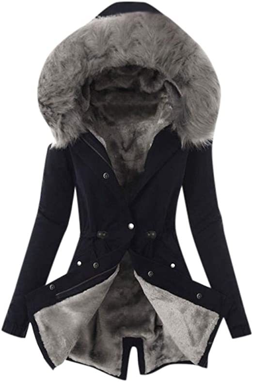 Beuhome Women Winter Lapel Slim Coat Jacket Ladies Long Sleeve Belted Button Fleece Lattice Hooded Coat
