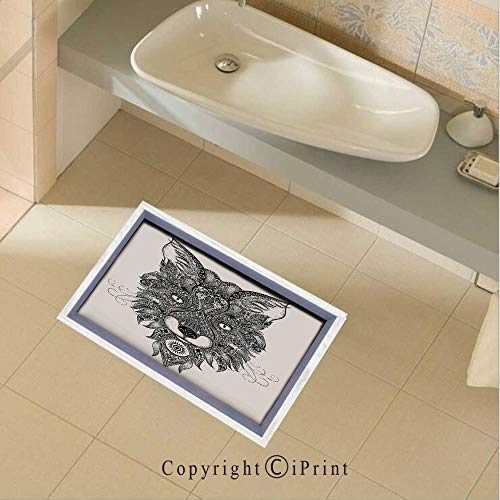 Floor Stickers Sharp Eyed Fox Head Portrait Ethnic Mask Celtic Animal Pattern Decor Asian Style Image Non-Slip Removable Wall Decals Murals Bathroom Kitchen Home Decor,35.4
