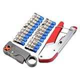 Cable Crimper Stripper Tool ,GOCHANGE Portable Coax Cable Crimping Stripping Cutting Pliers / Non-Slip Crimper Stripper Cutter Tool / 1PCS Crimper 1PCS Stripper 20x Cable Coaxial Connecto
