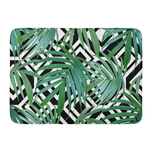 Koperororo Doormats Bath Rugs Outdoor/Indoor Door Mat Green Pattern Palm Frond Tropical Leaves Banana Leaf Exotic Hawaiian Jungle Plants Summer Flower Bathroom Decor Rug 16