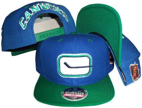 Vancouver Canucks Blue/Green Two Tone Adjustable Plastic Snap Back Hat/Cap