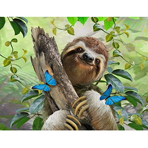 - Baulody New 5D Diamond Painting Kit -Cute Sloth- DIY Crystals Diamond Rhinestone Painting Pasted Paint by Number Kits Cross Stitch Embroidery Decor Wall Stickers & Murals Bedroom (Green)