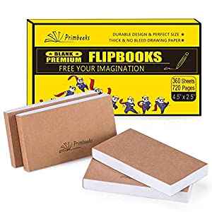 PRIMBEEKS Premium Blank Flip Book Paper, 360 Sheets (720 Pages) No Bleed Flip Books Kit, 4.5″ x 2.5″ Animation Paper for Animation, Sketching, Cartoon Creation.