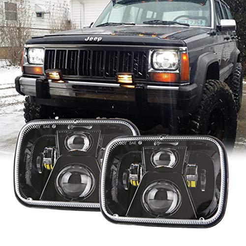 2018 110W Osram Chips 5x7 inch Led Headlights 7x6 Led Sealed Beam Headlamp with High Low Beam H6054 6054 Led Headlight for Jeep Wrangler YJ Cherokee XJ H5054 H6054LL 6052 6053(2Pcs)
